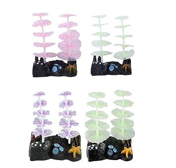 SDCXV Hermoso Pecera de Silicona Coral Brillante Ornamento de Flores de Loto para la decoración del