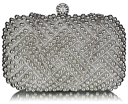 1 Beaded Silver Hardcase Handbag Prom Clutch Pearl Womens Purse Wedding Bag Ladies Evening Design Rhinestone Box Party Bridal Xx1Bqaw