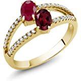 Gem Stone King 1.51 Ct Red Ruby Rhodolite Garnet 2 Stone 18K Yellow Gold Plated Silver Ring