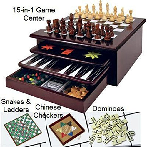 Board Game Set - Deluxe 15 in 1 Tabletop Wood-accented Game Center with Storage Drawer (Checkers, Chess, Chinese Checkers, Parcheesi, TicTacToe, SOlitaire, Snakes and Ladders, Mancala, Backgammon, Poker Dice, Playing Cards, Go Fish, Old Maid, and Dominos) (Classic Game Set)