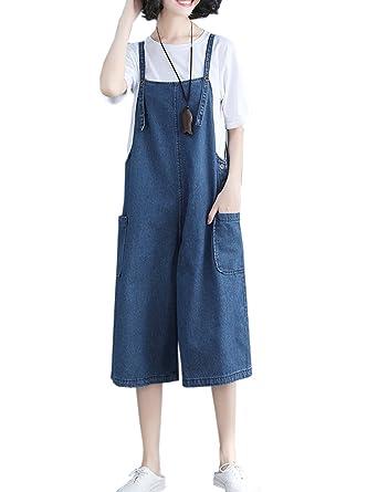 a933eff42750 Amazon.com  Flygo Women s Loose Baggy Denim Overalls Wide Leg Crop Jeans  Pants Jumpsuit Rompers  Clothing
