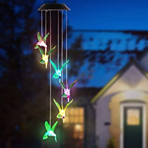 TeqHome Solar Hummingbird Wind Chimes, Color Changing Led Solar Wind Chime Waterproof Solar Powered Hummingbird Lights for Home Garden Outdoor Decor, Auto ON/Off