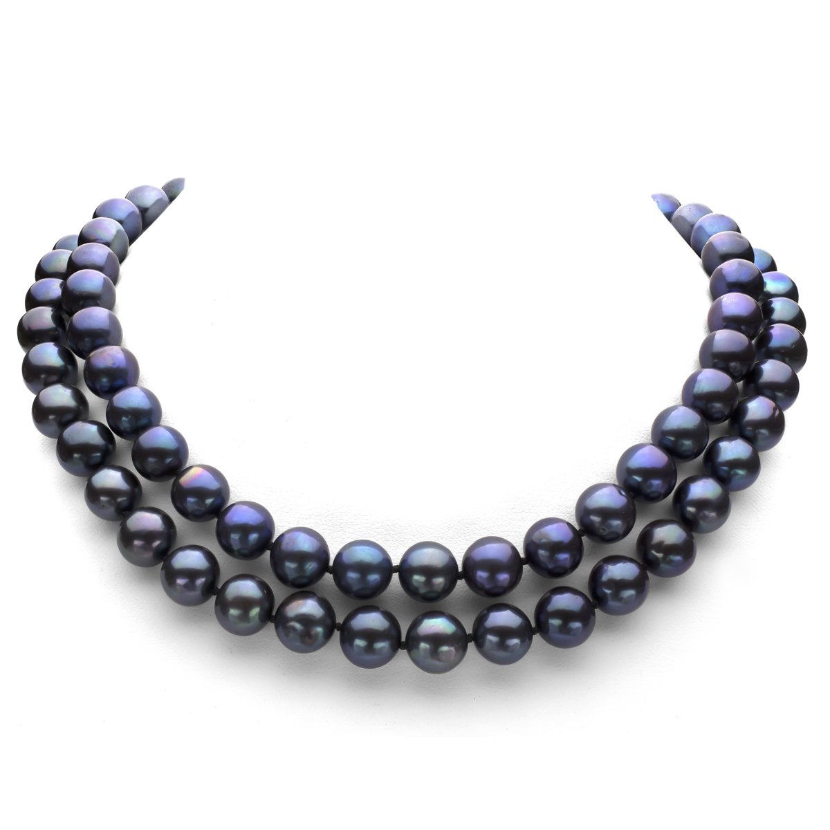 Sterling Silver 11-11.5mm Dyed-black Freshwater Cultured Pearl Ball-clasp Necklace, 36''