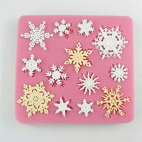 Molde de silicona con forma de copo de nieve para repostería, para chocolate, jabón