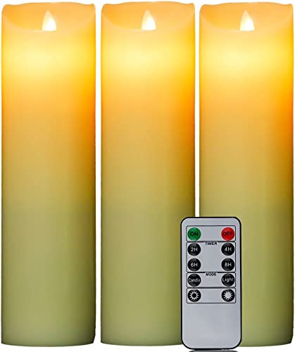HIFROM 3pc LED Flameless Candles 9-Inch Pillar Remote Control Battery Operated Dancing Flame Real Wax Candles with 10-Key Remote Control Light Wedding Party Decor 24-Hour Timer Function