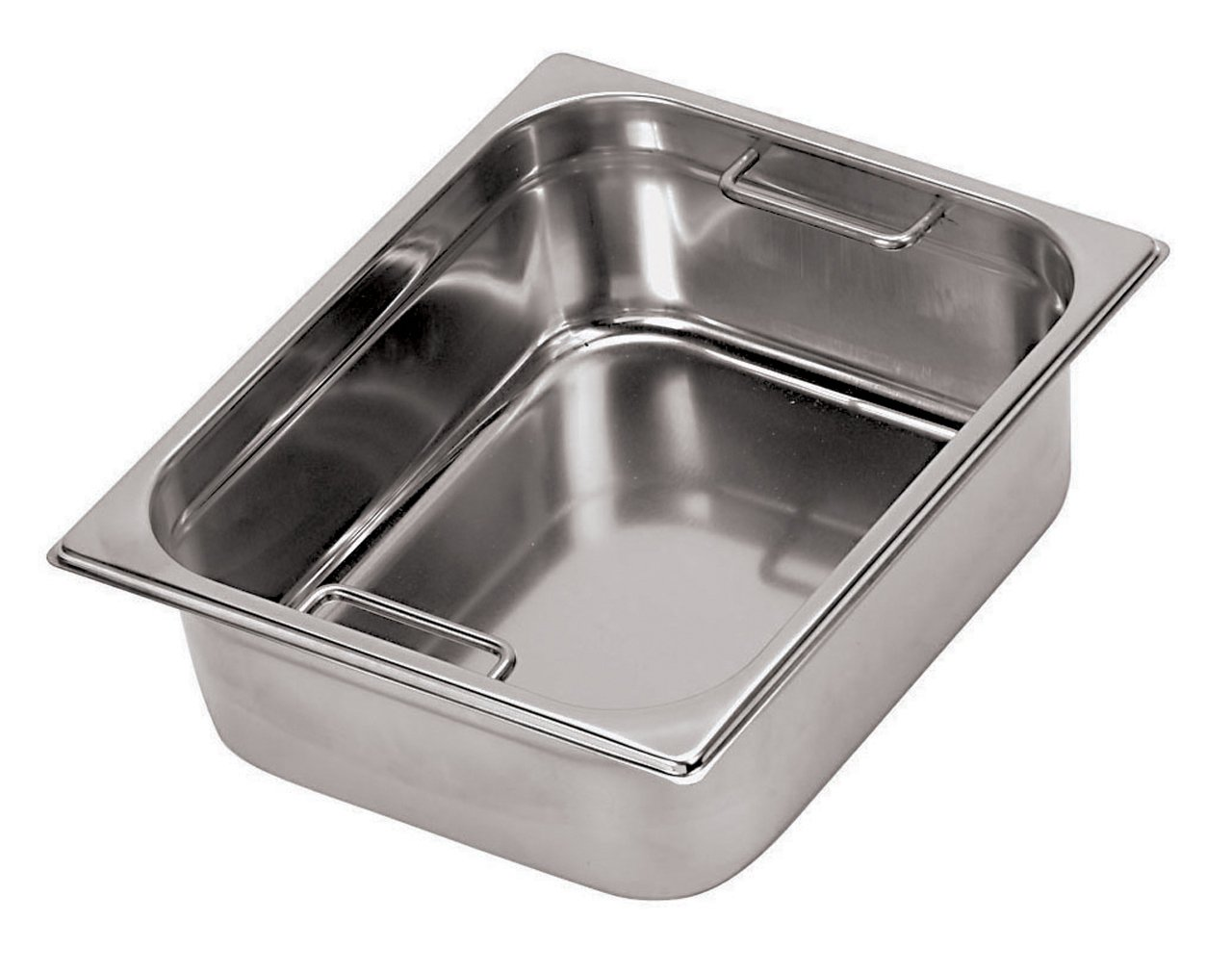 Paderno World Cuisine 12 3/4 inches by 6 1/4 inches Stainless-steel Hotel Pan with Internal Handles - 1/4 (depth: 6 inches)