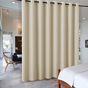 RYB HOME Decor Freestanding Office Partition Wall Divider Curtain, Grommet Top Contemporary Blackout Curtain Panel for Home Theatre/Bedroom/Garage, 9 ft Tall x 15 ft Wide, Cream Beige, 1 Piece