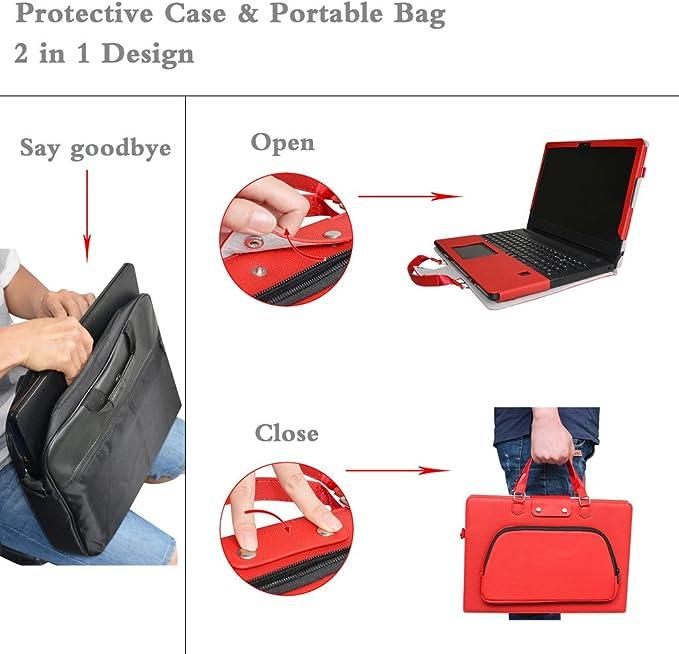Sac Portable Sacoche pour 14 ASUS VivoBook Flip 14 TP410UA TP410UR Series Ordinateur,Rouge Labanema ASUS TP410UA TP410UR Housse,2 en 1 sp/écialement con/çu Etui de Protection en Cuir PU