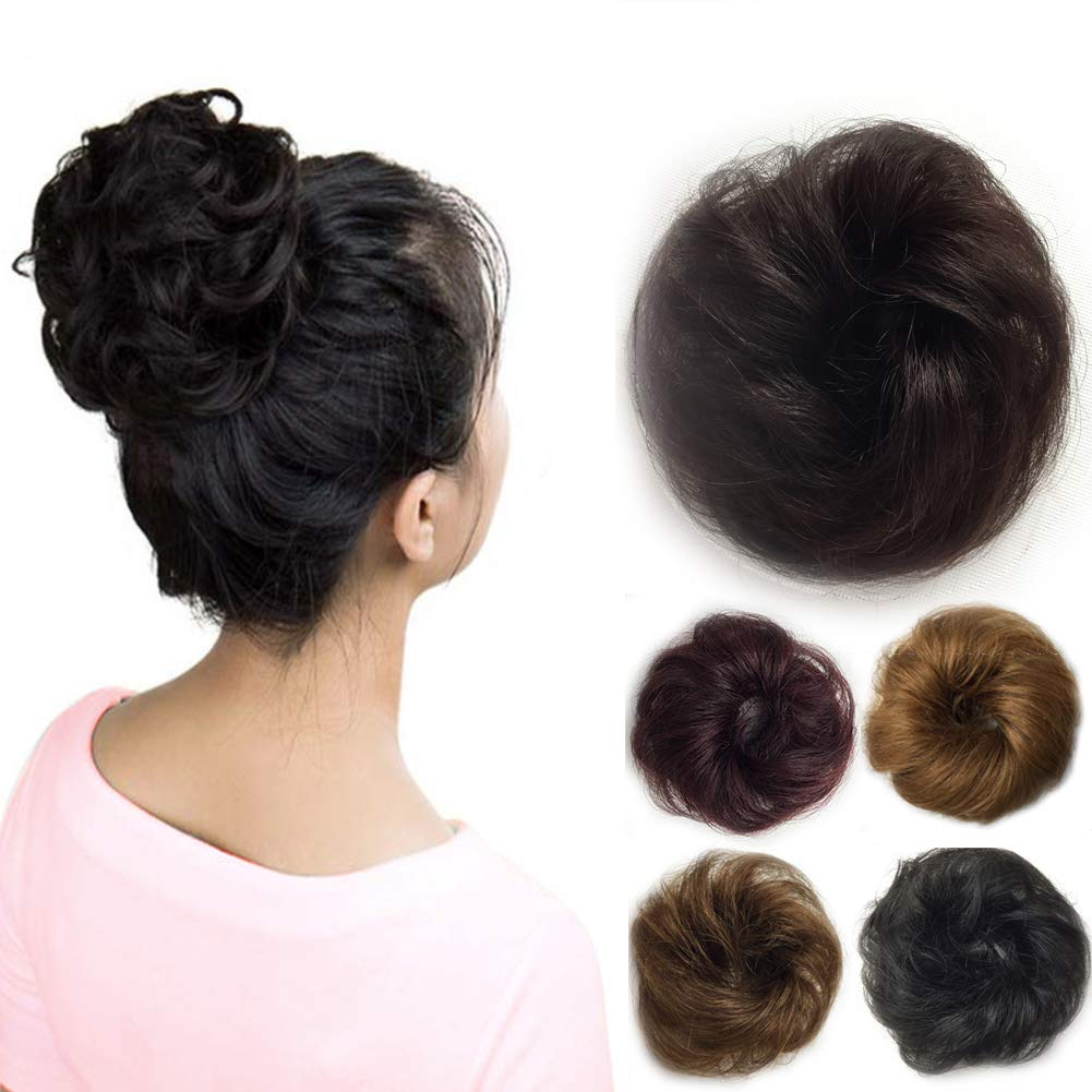 Vowinlle 100% Remy Human Black Hair Bun Extensions(Natural Black), Curly Messy Natural Hair Bun, Fabulous Black Hair Bun Wig for Fashon-Elegant Women