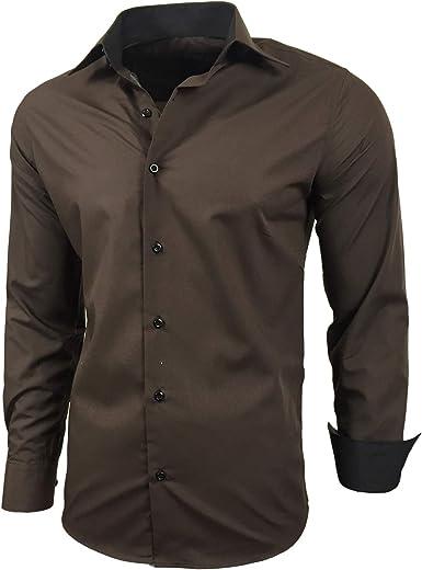 Baxboy - Camisa de manga larga para hombre, de corte ajustado, fácil de planchar, para trajes, trabajo, bodas, tiempo libre, R-44 marrón XXXXXL: Amazon.es: Ropa y accesorios