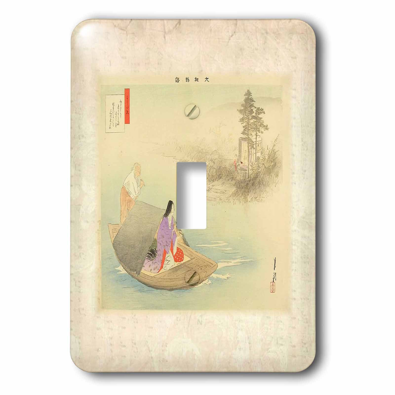 3dRose lsp_255493_1 Image of Japanese Man and Woman in Boat Painting Toggle Switch, Mixed by 3dRose