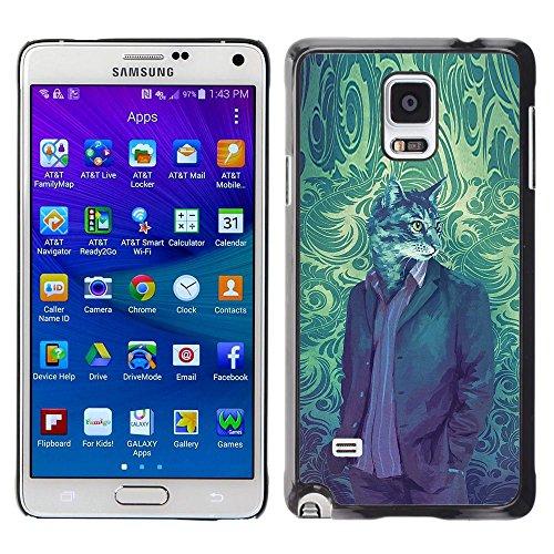 Plastic Shell Protective Case Cover || Samsung Galaxy Note 4 || Cat Suit Portrait Vintage Wallpaper Art @XPTECH