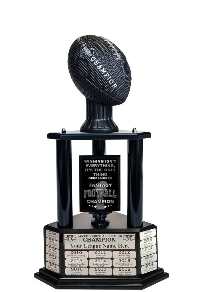 Customizable 26''-56'' Fantasy Football Trophy with Free Engraving for up to 19 Years of Past Winners. Vivid Black Football (26'' Black Columns M) by TrophySmack