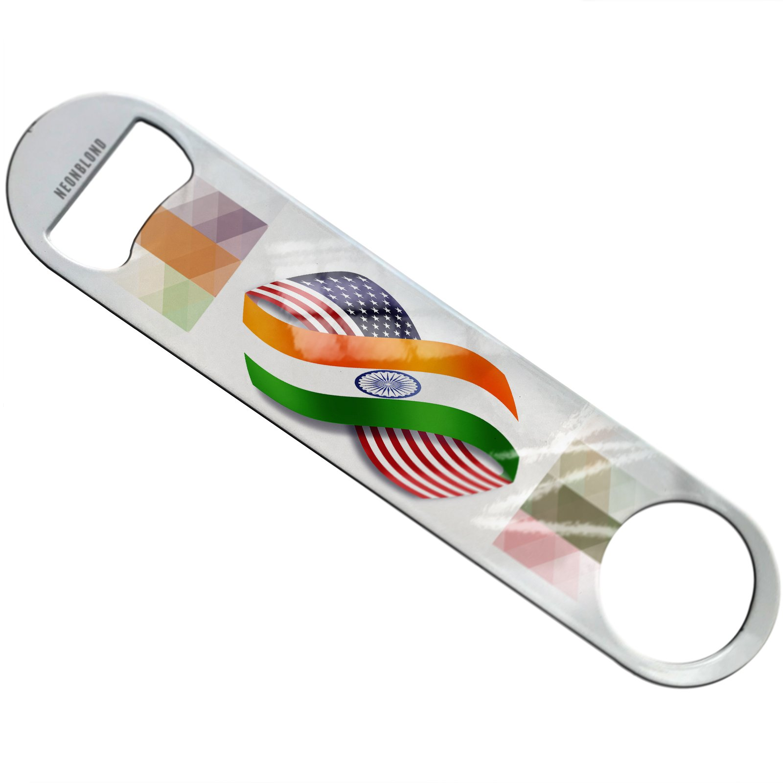 NEONBLOND Infinity Flags USA and India Flat Beer Bottle Opener Heavy Duty Bartender