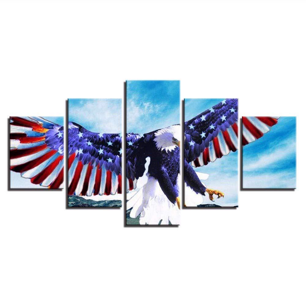 xzfddn Leinwanddrucke Bilder Wohnzimmer Poster 5 Stücke Amerikanische Flagge Und Adler Verbreiten Flügel Gemälde Wohnkultur Wandkunst 20X35/45/55Cm,with Frame