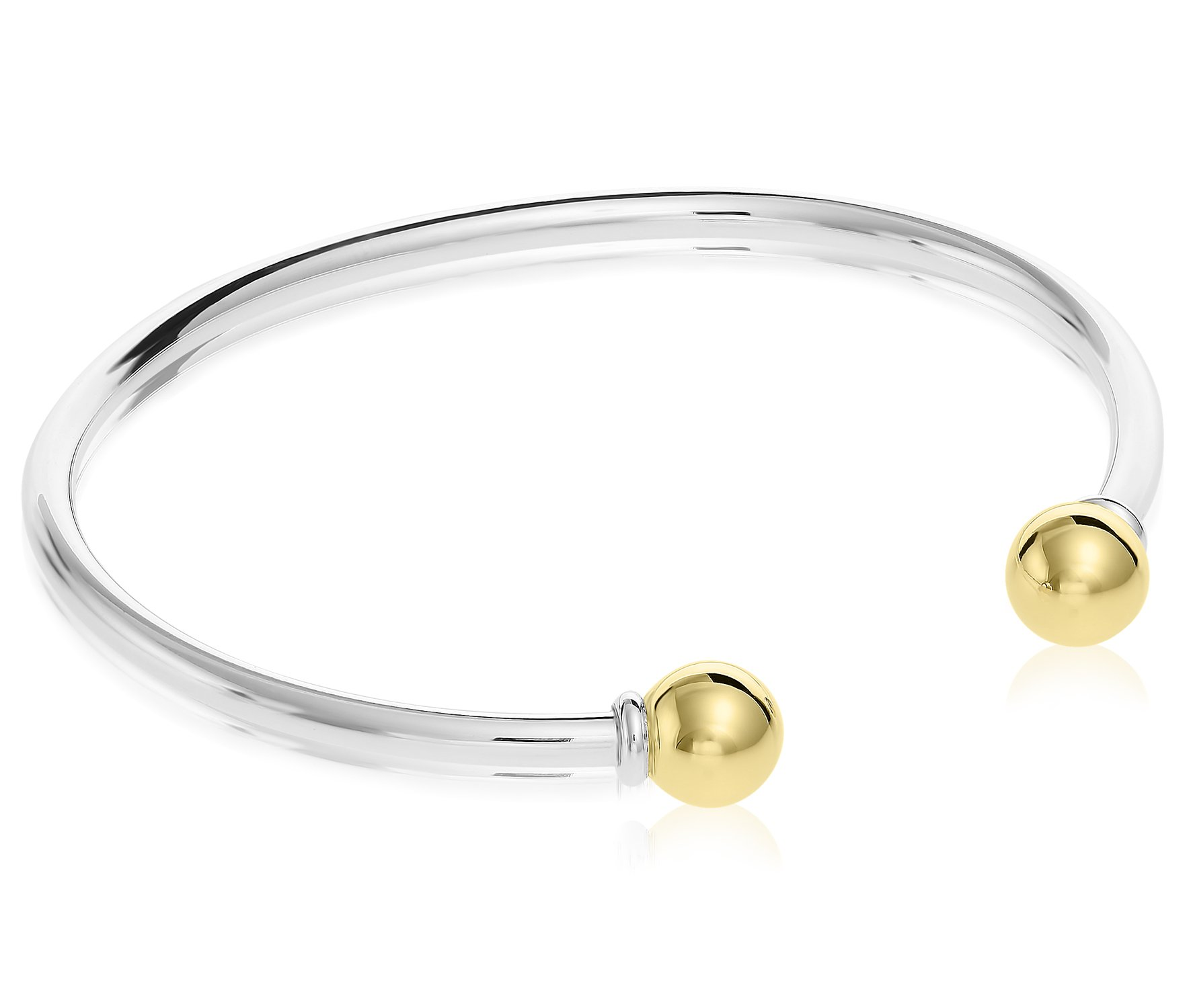Unique royal jewelry Solid 925 Sterling Silver and 14k Gold 2-Ball Cuff Bracelet (Size 7) by Unique Royal Jewelry (Image #3)