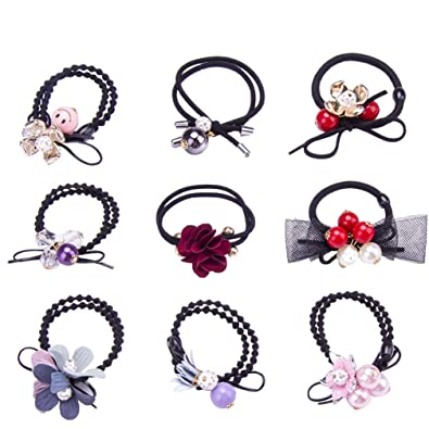 Amazon.com   Bow Elastic Hair Ties Floral Pearl Hair Accessories Ribbon Bow-knot  Stretch Hair Rubber Band Set Ponytail Holders Headband ScrunchieThick Hair  ... e9e817d5e93