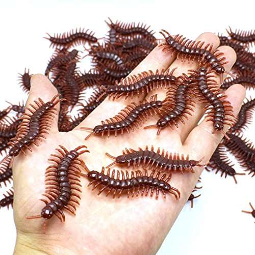 (Livoty 10Pcs Creative Hot selling PVC Artificial Centipede Insect Animal Model Toys Funny Spoof Toy (black))