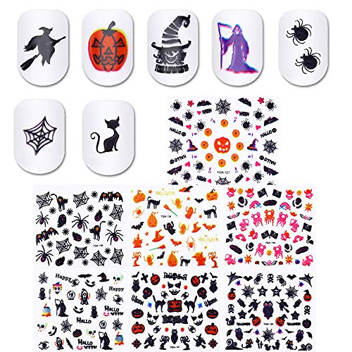 Awesome Halloween Nail Designs (24 Sheets Halloween Nail Manicure Decals Self-Adhesive Fingernails Toenails Decoration Stickers Pumpkin Spider Web Ghost Cat Hat Witch Design Nail Arts)