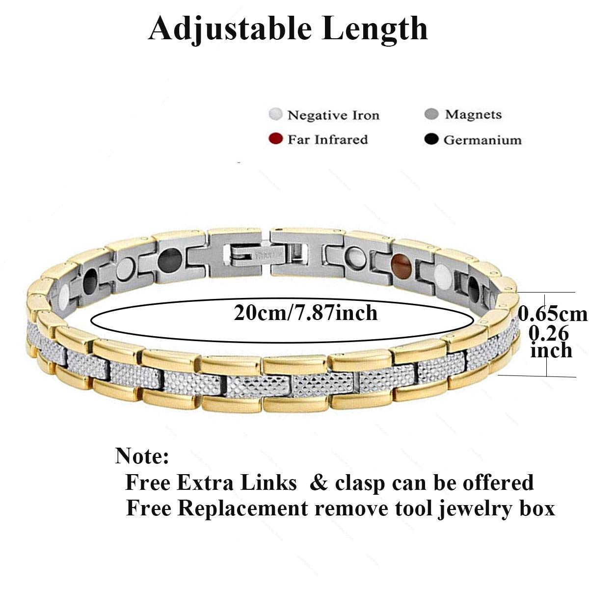 Vinca Mascot Ladies Elegant Magnetic Bracelet for Women Arthritis Pain Relief Perfect Health, Gold Silver
