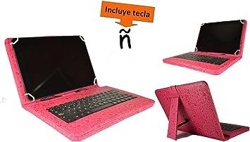 Theoutlettablet® Funda con Teclado Extraible en español (Incluye Letra Ñ) para Tablet Bq Edison 2 10.1