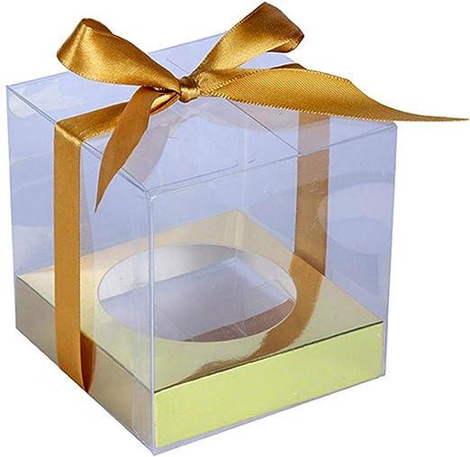 Cajas transparentes de PVC para cupcakes, caja de regalo de boda ...