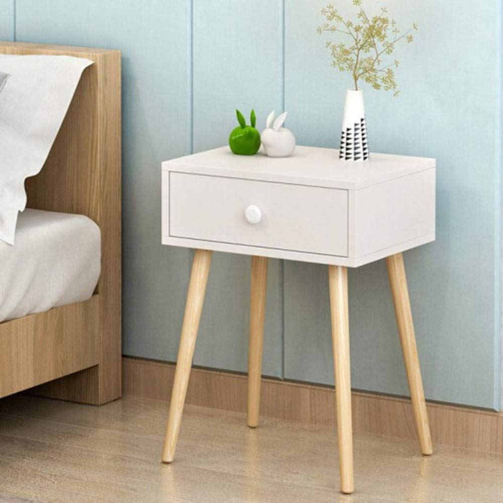A 40x34x64cm(16x13x25) Bedside Table Solid Wood Legs nightstand with Storage Drawer Nightstand End Table-C 40x34x64cm(16x13x25)