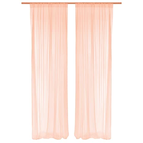 Amazoncom Lings Moment Blush Peach Sheer Backdrop Curtains 10 Ft