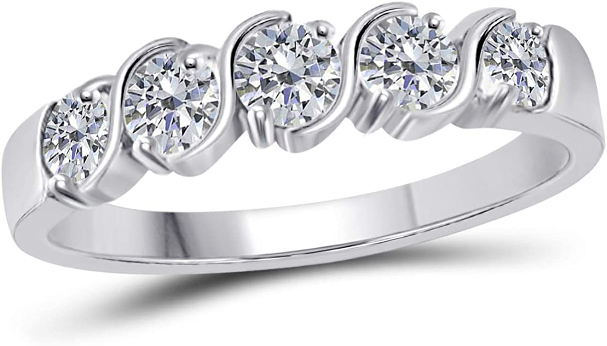 Amazon Com Maulijewels Rings For Women 0 50 Carat Bezel Setting Engagement Wedding Band Bezel 14k Solid White Gold Genuine Diamond Wedding Jewelry Collection Jewelry