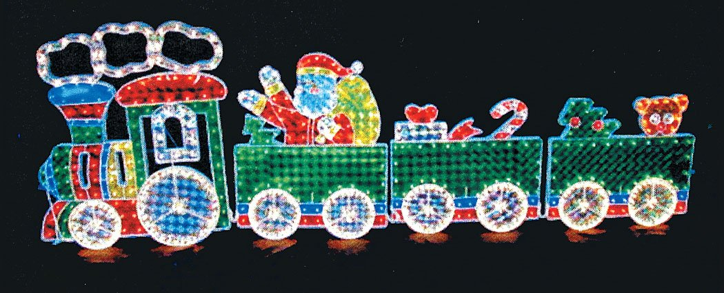 Let it Snow Collection Indoor / Outdoor Lighted Decorations - 8.5 Ft. Long Santa and Frosty's Holiday Express Train - 600 Lights - Holographic Motion