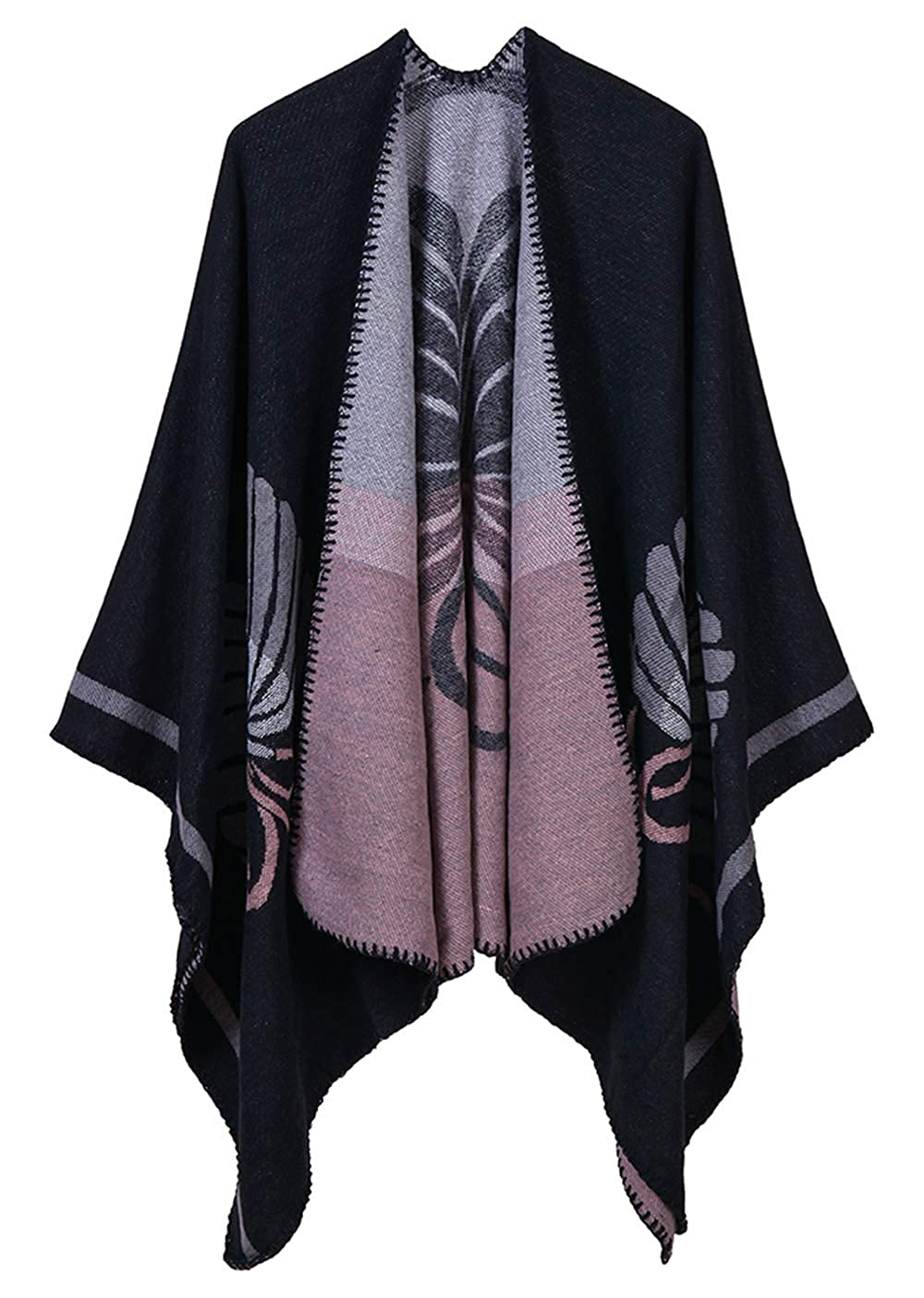 Aivtalk Lightweight Shawl Blanket for Women Oversized Poncho Coat Wrap Fringe Poncho Contrast Trims