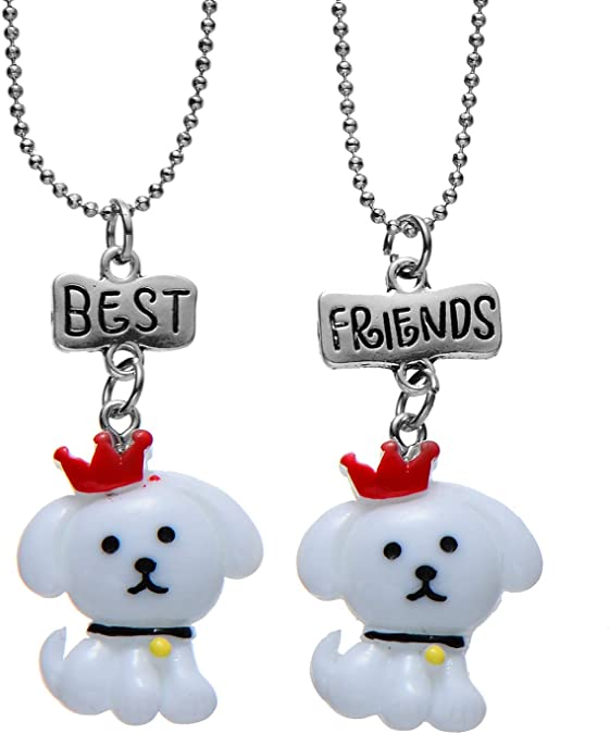 FSMILING Best Friends Necklace Cute Colorful Pendant Friendship Gifts for Birthday Prom Party