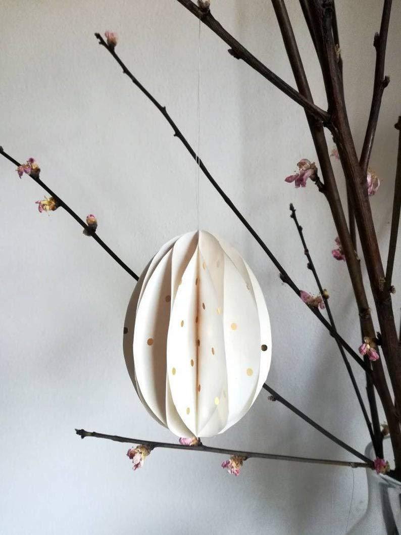 Nachhaltige Osterdeko aus Papier: 6er-Set Eier mit goldenen Punkten