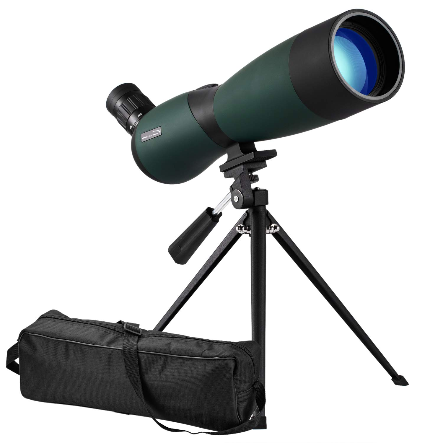 Aurosports 25-75x70mm HD Spotting Scope Waterproof Optics Zoom Fogproof Monocular Telescope for Bird Watching, Hunting, Target Shooting, Archery Wildlife Scenery with Tripod and Soft Case by aurosports
