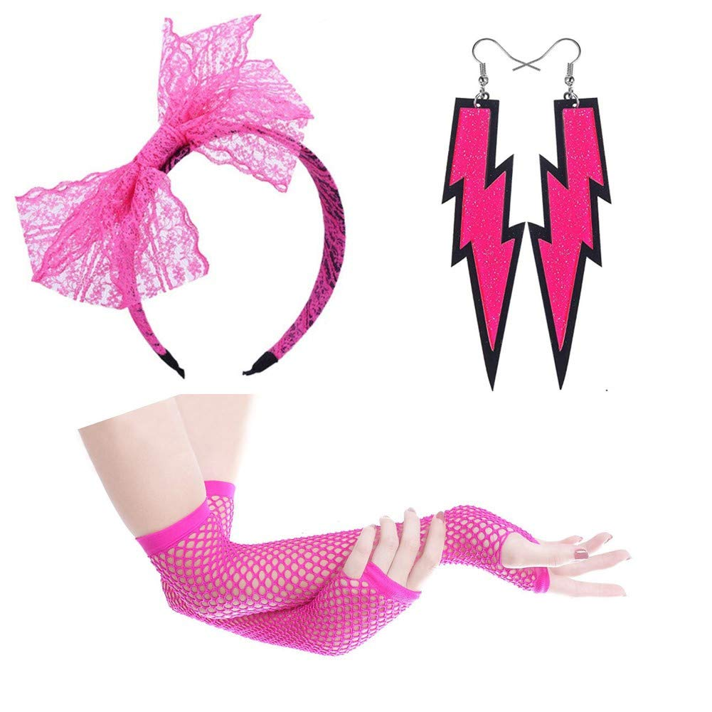 Subiceto Womens 80s Outfit Costume Accessories Set for Women Neon Earrings Lace Headband Fishnet Gloves Leg Warmers Sets