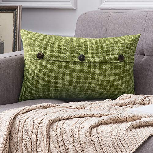 MIULEE Decorative Linen Throw Pillow Covers Cushion Case Triple Button Vintage Farmhouse Pillowcase for Couch Sofa Bed 12 x 20 Inch 30 x 50 cm Green (Green Lumbar Pillow)
