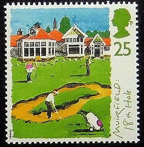 Golf Muirfield 18th Hole UK Handmade Framed Postage Stamp Art 20254AM