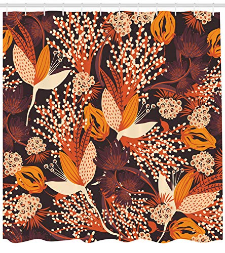 Ambesonne Autumn Shower Curtain, Fall Season Bouquet Leaves Artistic Rust Toned Herbs Blooms Wedding Botanical Print, Cloth Fabric Bathroom Decor Set with Hooks, 84 Inches Extra Long, Multicolor -