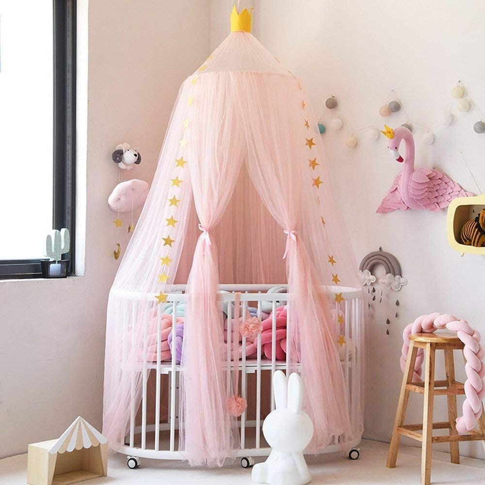 Bed Canopy Premium Yarn Play Tent Bedding for Kids Playing Reading with Children Round Lace Dome Netting Curtains Baby Boys and Girls Games House Pink
