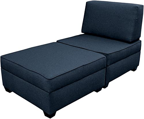 duobed Storage Chaise Lounge Bed – Blue