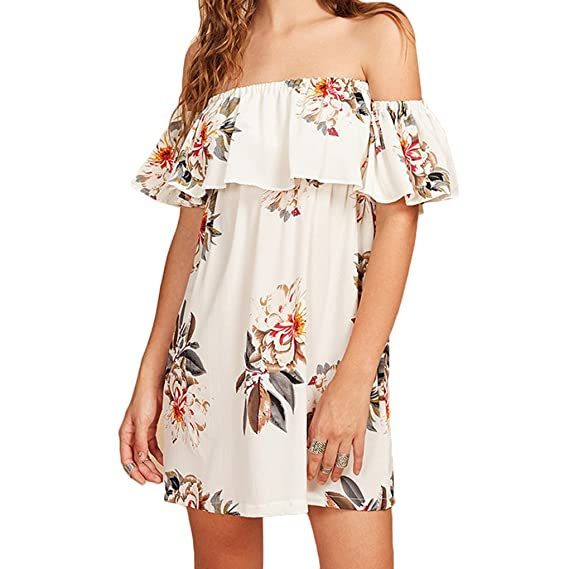 063a4f9a548e52 Mengonee L Summer Off Shoulder Women Short Dress Ruffle Floral Print Loose  Chiffon Dress Beach Dress  Amazon.in  Clothing   Accessories