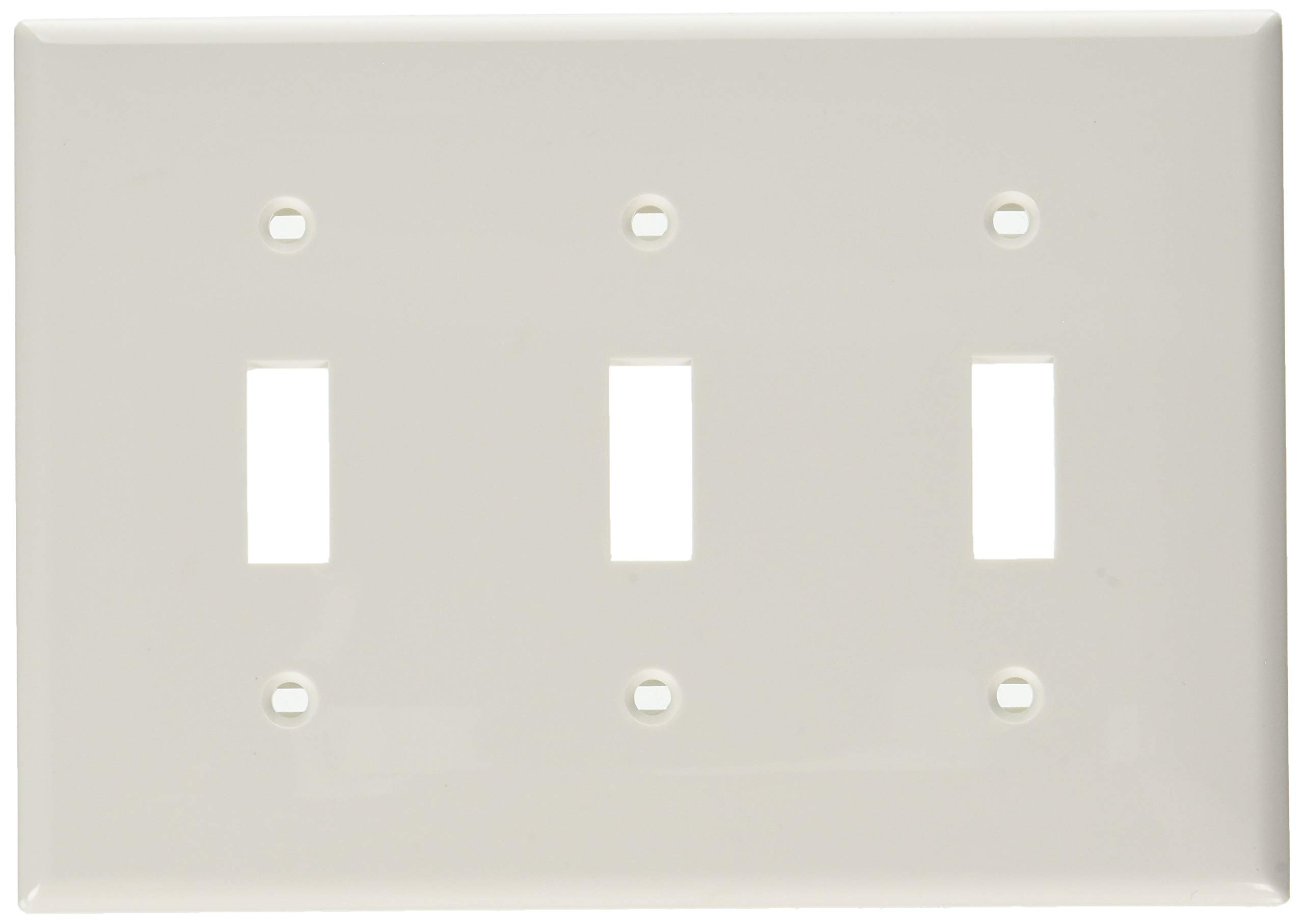 Leviton 80711-W 3-Gang Toggle Device Switch Wallplate, White, 10-Pack
