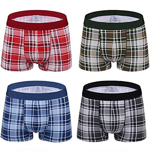 Cotton Plaid Boxers (SLJ Men Classic Plaid Underwear Trunk Boxer Brief Shorts(Pack Of 4))