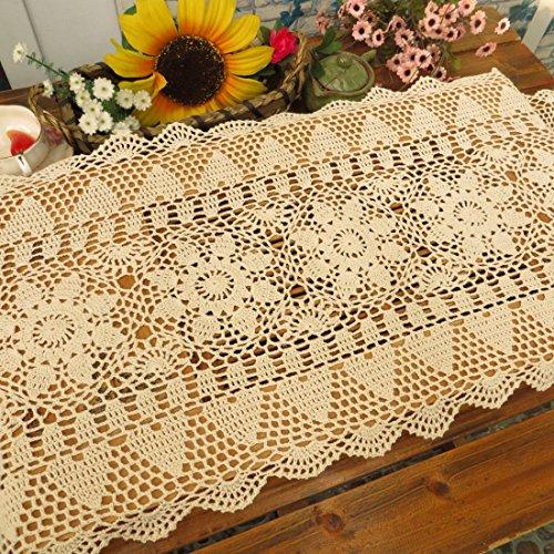 kilofly Handmade Crochet Lace Rectangular Table Runner 15 x 36 Inch, Beige by kilofly (Image #3)