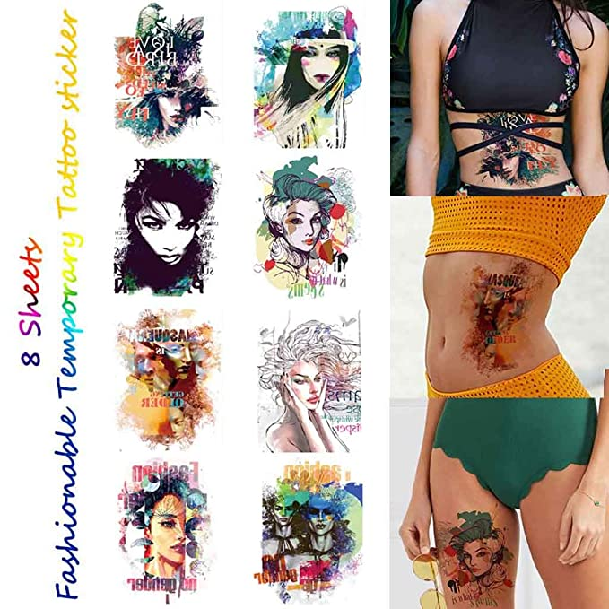 CARGEN 8 Hojas Tatuaje Temporal Colorido Fresco Para Mujeres ...