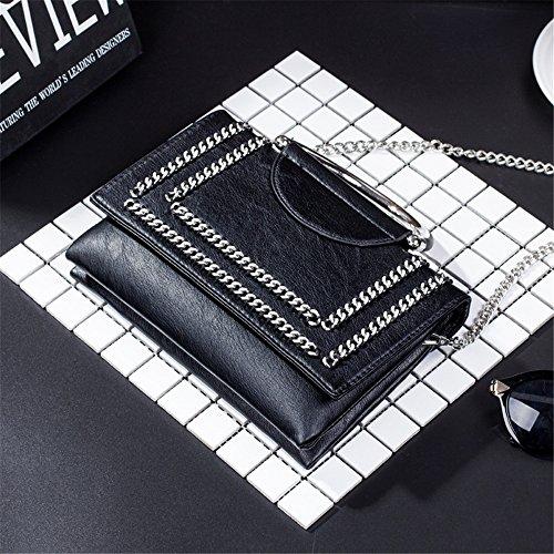 Bag PU chaîne Asdflina Noir Zip Grande Un magnétique capacité à Convient Usage Sac décorative Messenger bandoulières Quotidien Simple rétro bandoulière carré pour FvBSq4F