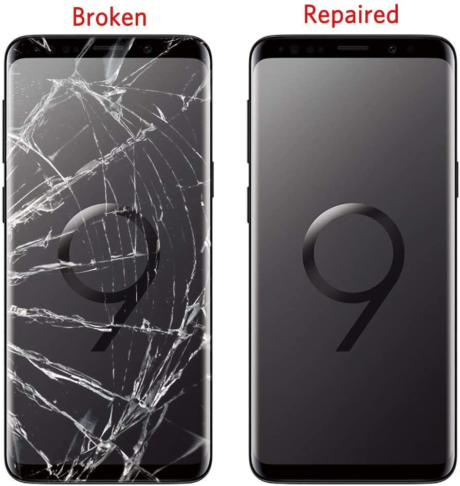 Original Galaxy S9 Screen Replacement Front Outer Lens Glass Screen Replacement Repair Kit for Samsung Galaxy S9 G960 Series (Galaxy S9 5.8 inch Black)