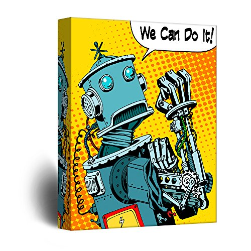 wall26 - Canvas Wall Art - Robot Propaganda Wall Art Comic Book Illustration Pop Art - Giclee Print Gallery Wrap Modern Home Decor Ready to Hang - 12x18 inches -