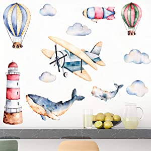 """Airplane Wall Decals with Shark & Hot Air Balloon Wall Sticke for Nursery Kids Boys Room Playroom Wall Decoration (Airplane, 9.8""""x27.5""""x2Sheet)"""
