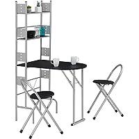 IDIMEX Ensemble Jonathan avec Table de Cuisine comptoir Pliable avec 2 étagères et 2 chaises/tabourets avec Dossier, Table et Assise en MDF Noir et Structure en métal argenté